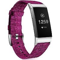 Ouwegaga Band Compatibel met Fitbit Charge 3 Banje, Ademende Geweven Stoffen Accessoires Band met Klassieke Gesp…