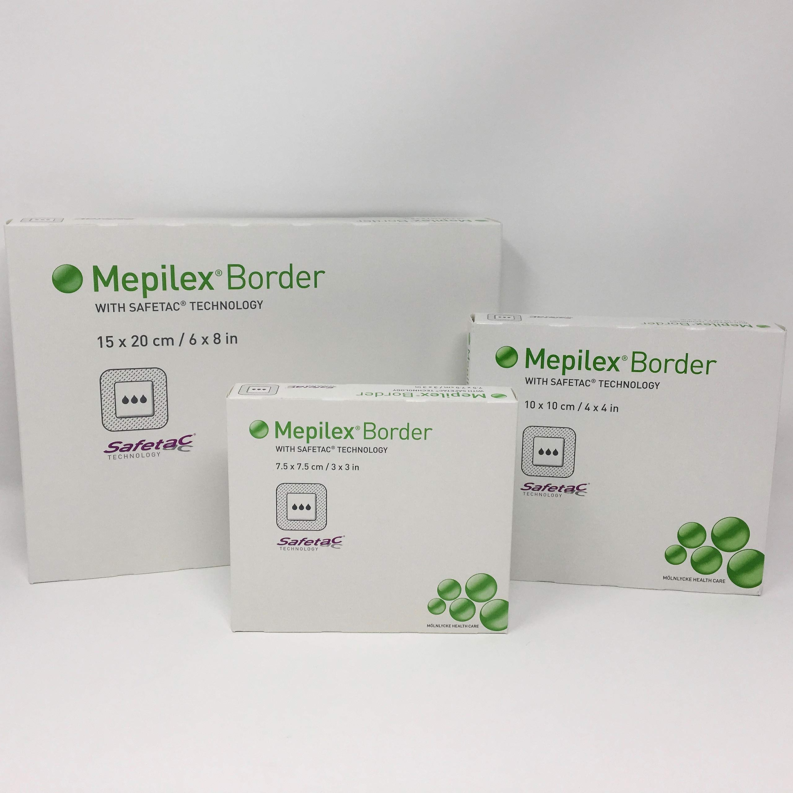 Mepilex Border Wound Dressing Bundle (Contains 3 Boxes of Dressings - 1 Box of 5 Dressings Each of: 3'' x 3'' - 4'' x 4'' - 6'' x 8'') Total of 15 Wound Dressings