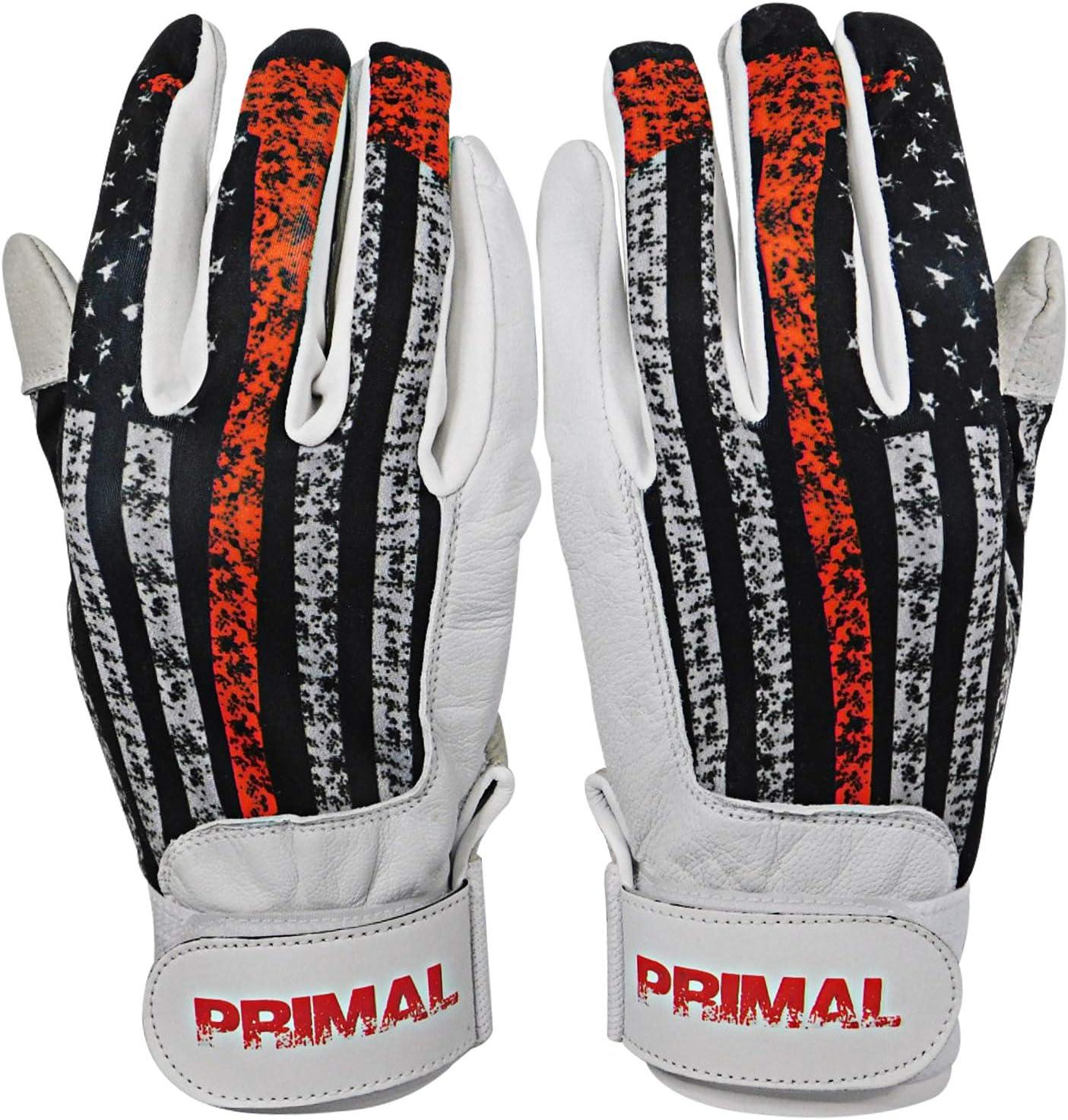 PrimalBaseball USA Firefighter Baseball Batting Gloves for Sports Players