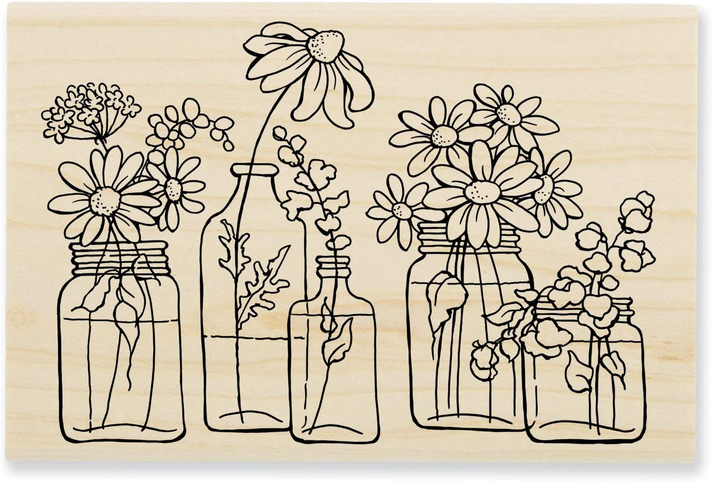 3.5 x 4 Inkadinkado Floral Mason Jar Mounted Rubber Stamp for Card Making and Scrapbooking