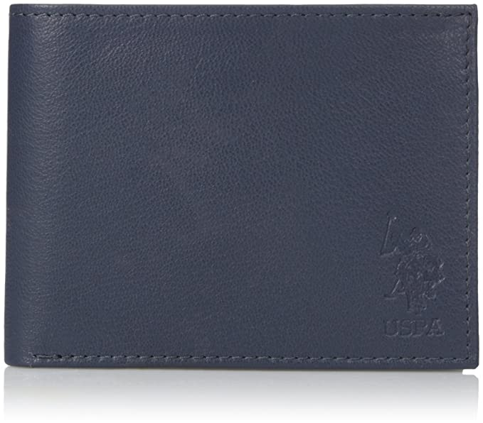 U.S. Polo Assn.Genuine Leather Wallet, Slim Bifold, Clear ID ...