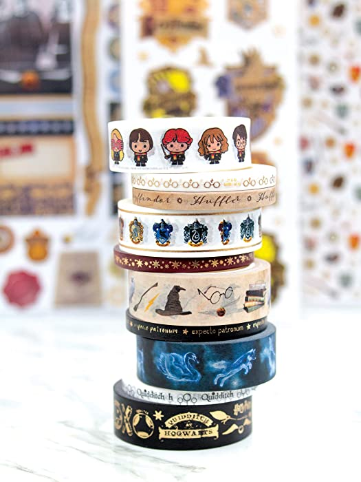 Paper House Productions SET0013 Harry Potter Washi Tape Bundle includes Five 15 mm Rolls Five 5 mm Rolls, Decorative Adhesive Tape