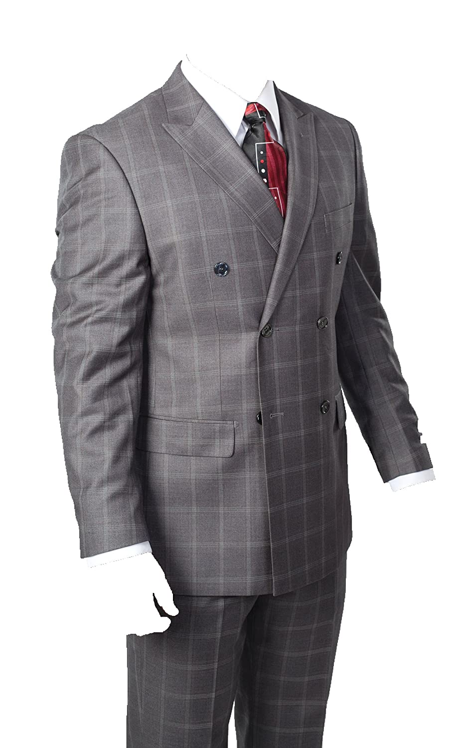 Men's Vintage Style Suits, Classic Suits Mens Two Piece Windowpane Plaid Suit (Grey) $119.00 AT vintagedancer.com