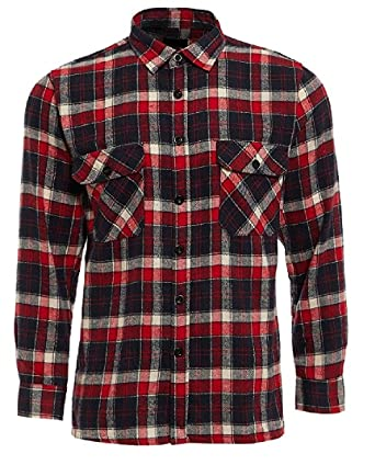 HuntaDeal Mens Long Sleeved Flannel Brushed Cotton Checked Check Lumberjack  Warm Casual Work Outdoor Shirt (Red Navy b056fa8d7