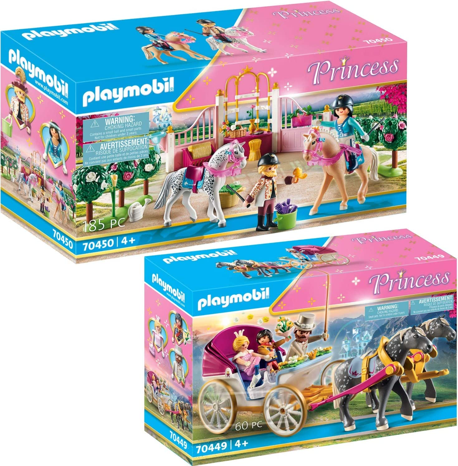 PLAYMOBIL® Princess 70449 70450 - Juego de 2 carruaje romántico de caballos + clases de equitación en el establo para caballos