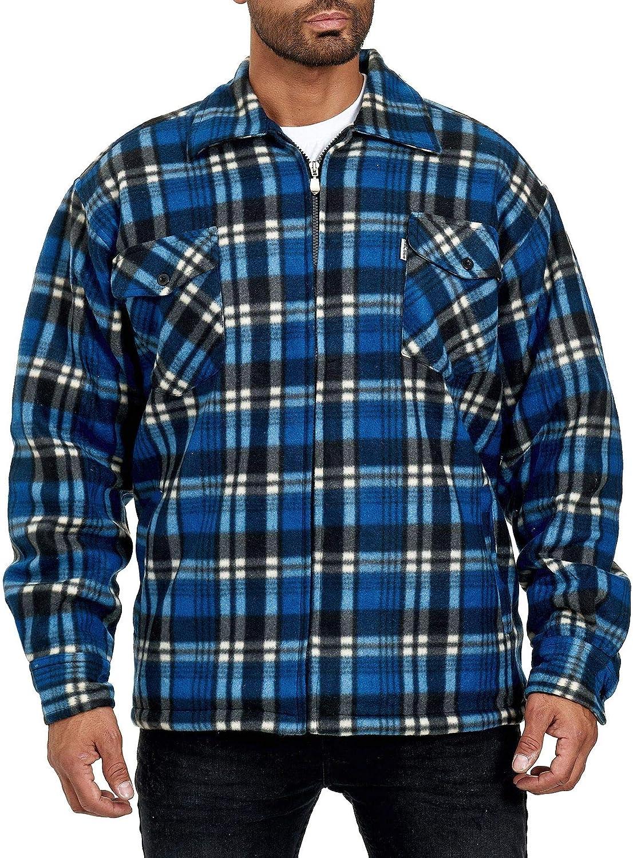 EGOMAXX Camisa térmica para Hombres Transición Chaqueta Leñador A Cuadros Fleece Franela, Color:Azul-Celeste, Talla de Chaqueta:XXXL