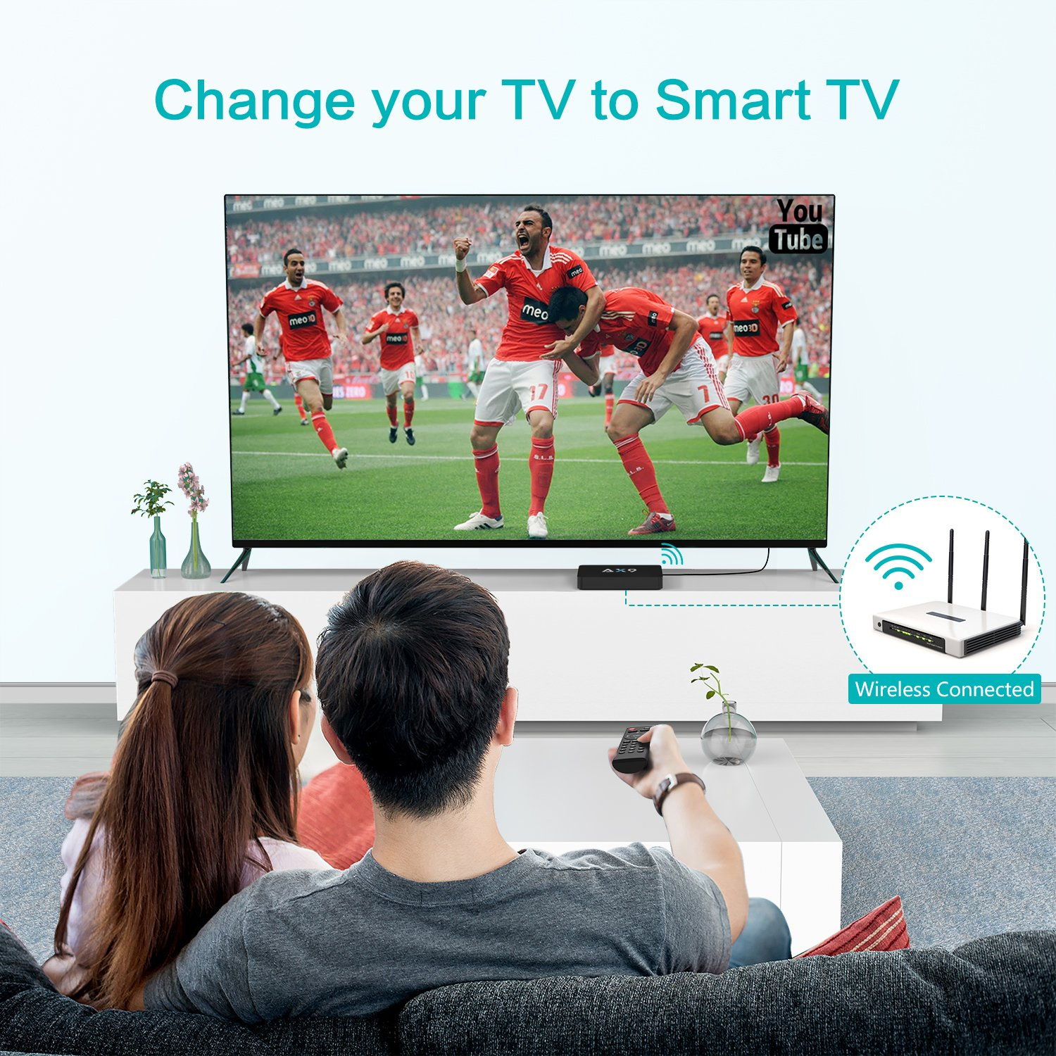 TICTID [1G DDR3/8G EMMC] AX9 Android 7.1 TV Box Amlogic Quad Core A53 Processor 64 Bits Smart TV Box with H.265 HEVC Video Decoder UHD 4k.2k HDMI 2.0 Output 2.4G WiFi Android Box by TICTID (Image #6)