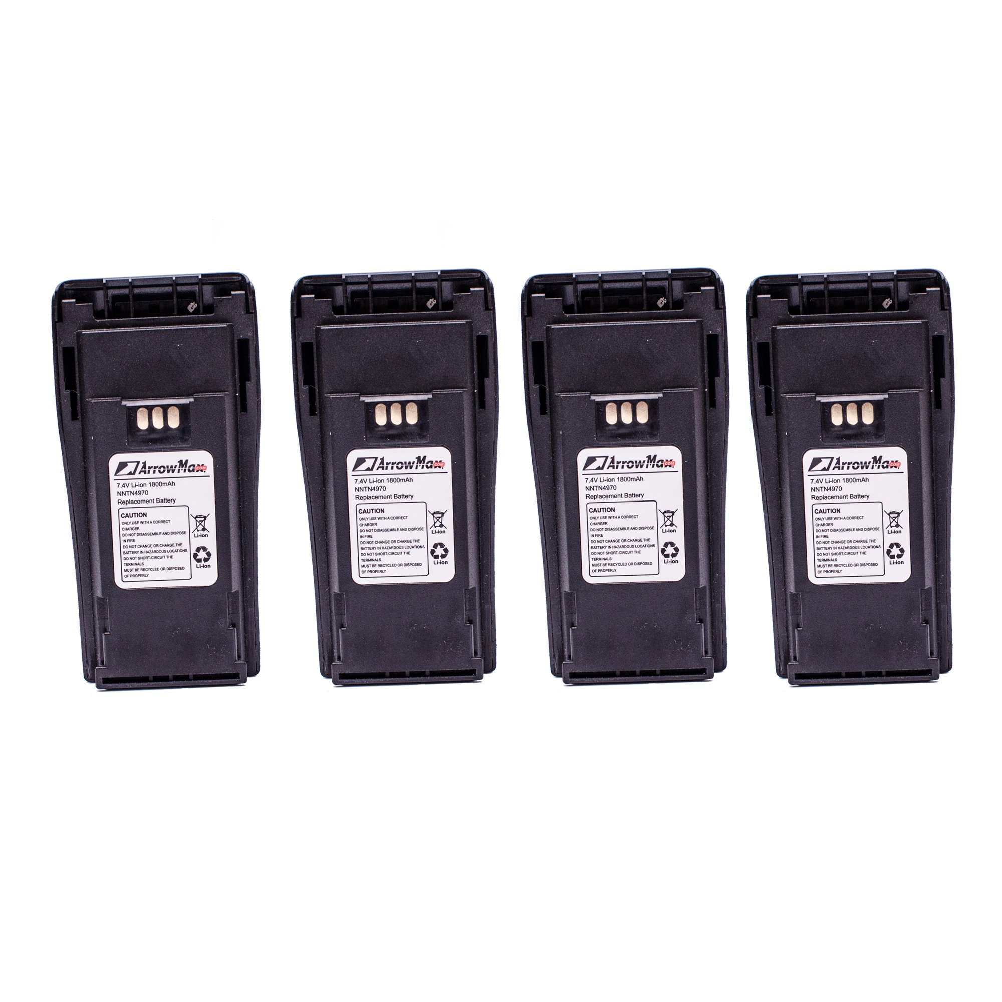 4 Pack ArrowMax AMCL4970-1800-D NNTN4970 Replacement Li-ion 1800mAh Slim Battery for Motorola CP200 CP200XLS CP200D