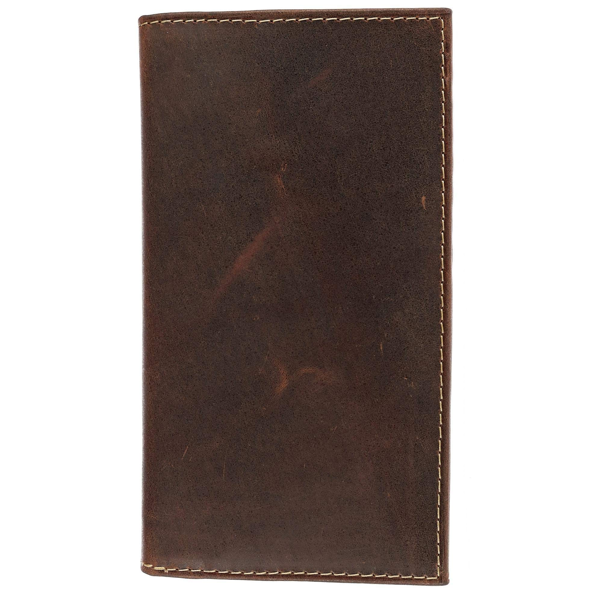 CTM Hunter Leather Distressed Checkbook Cover, Brown