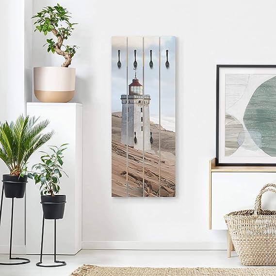 Bilderwelten Perchero de Madera - Lighthouse In Denmark - Ganchos ...