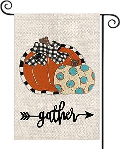 AVOIN Fall Gather Polka Dot Pumpkin Garden Flag Vertical Double Sized Buffalo Check Plaid Bow, Arrow Seasonal Autumn Thanksgiving Yard Outdoor Decoration 12.5 x 18 Inch