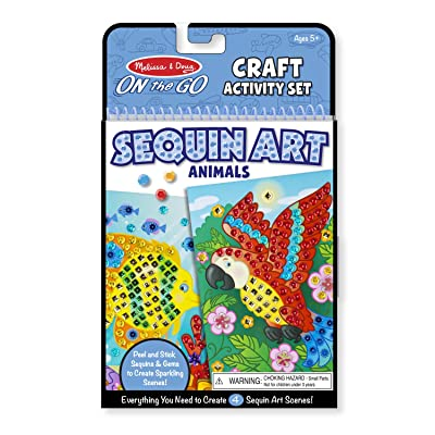 Melissa & Doug On-The-Go Crafts Animals Sequin Art (Great Gift for Girls and Boys - Best for 5, 6, 7, 9, 10 Year Olds and Up): Toys & Games