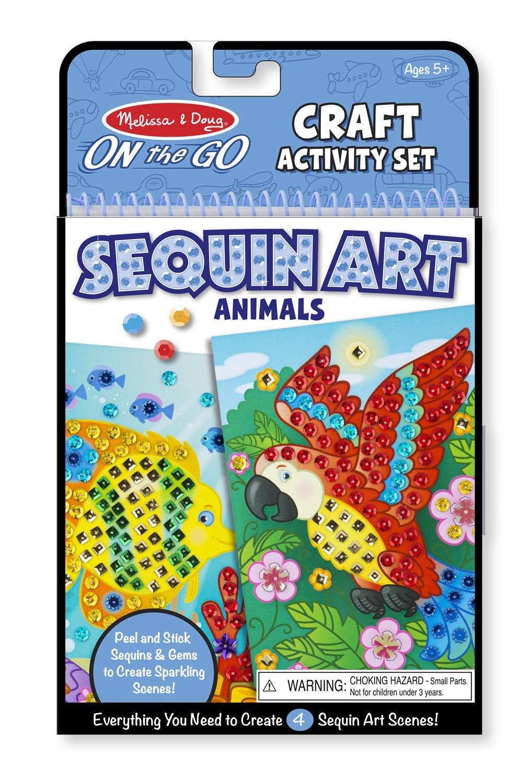 Direct 9438 Melissa /& Doug On-The-Go Crafts Animals Sequin Art Pro-Motion Distributing