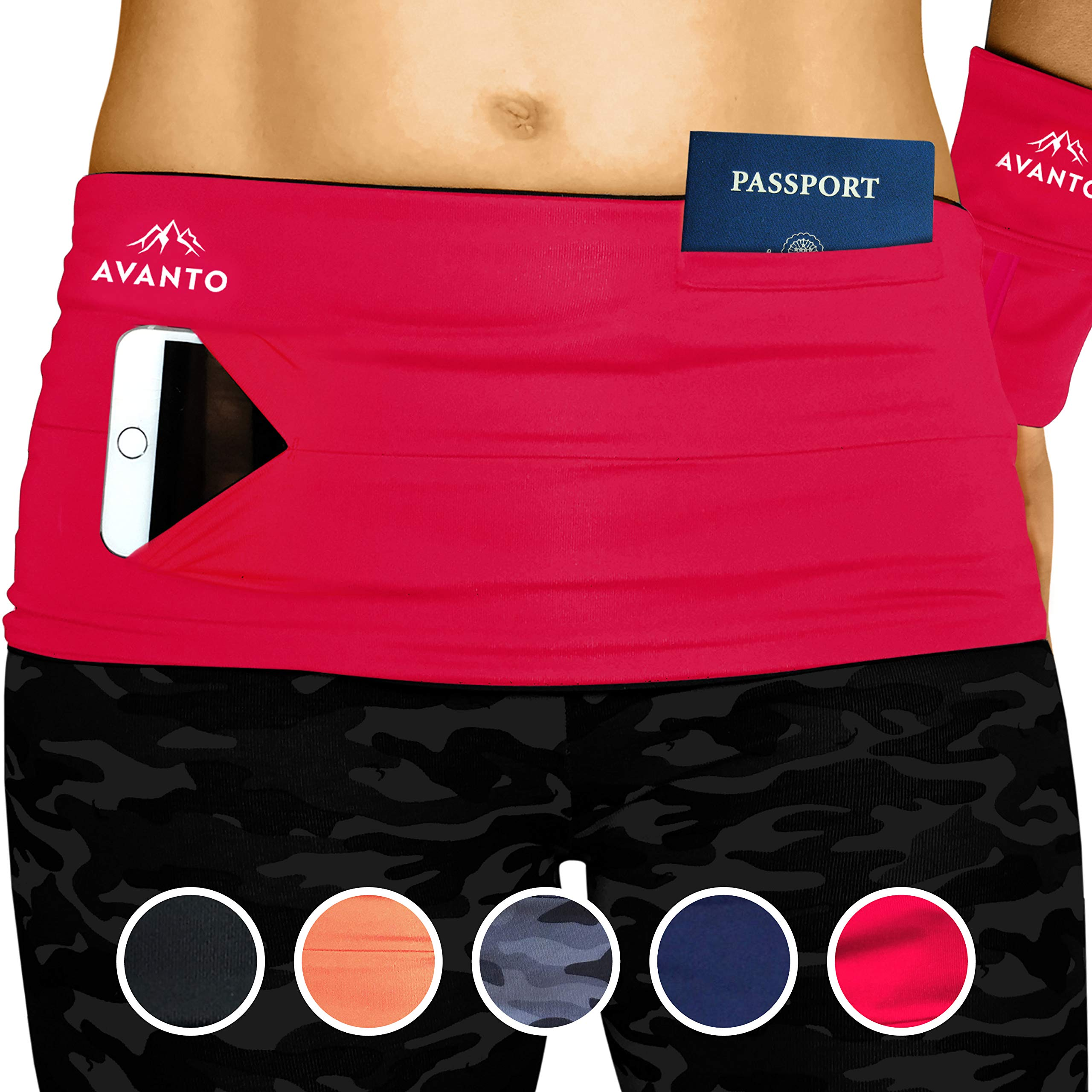 AVANTO Slim Fit Travel Money Belt with Free Wrist Wallet, Running Belt, Waist and Fanny Pack for Travel, for Women and Men, Comfortable Like Second Skin, Red, L by Avanto Lifestyle