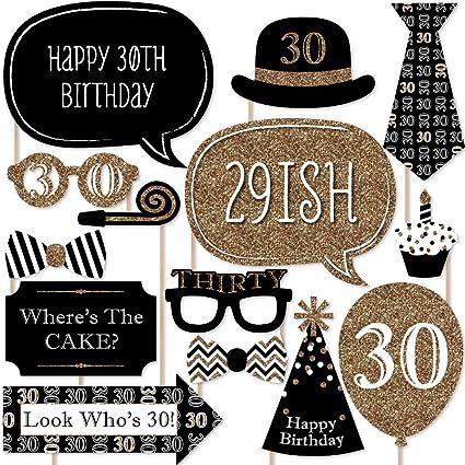 Amazon.com: Adultos 30º cumpleaños – Oro – Photo Booth Props ...