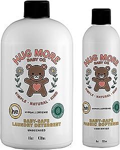 Hug More Baby-Safe Natural Laundry Detergent 16 Oz & Fabric Softener 8 Oz Pack of 2 – Unscented, Plant-Based, Gentle on Sensitive Skin & Hypoallergenic
