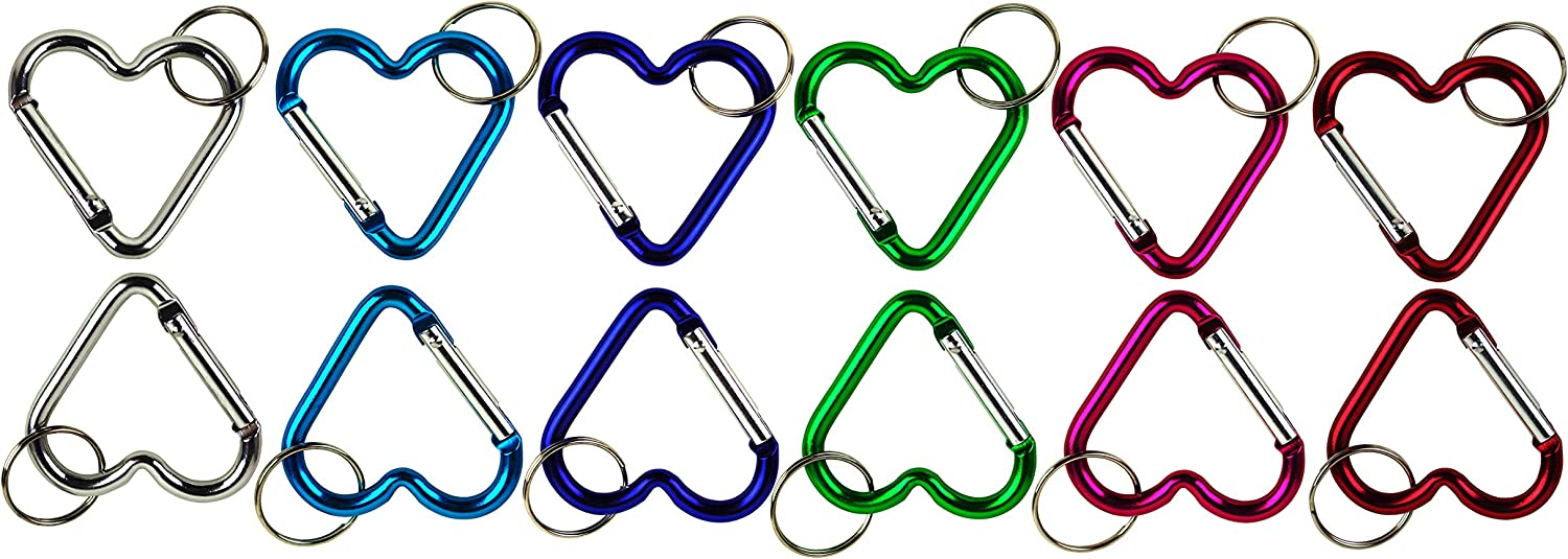 LOT of 12 Assorted Carabiner Clip Key Chains Key Rings