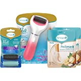 Amope Pedi Perfect Spa Experience Pampering Pack containing an electronic foot file, 2 pairs of macadamia oil foot masks and