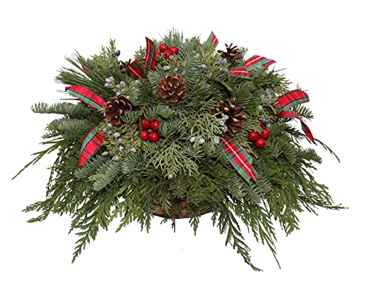 Christmas Tablescape Decor - Hand-Made fresh evergreen, faux red berries, real pinecones and ribbon for a small dining table centerpiece.