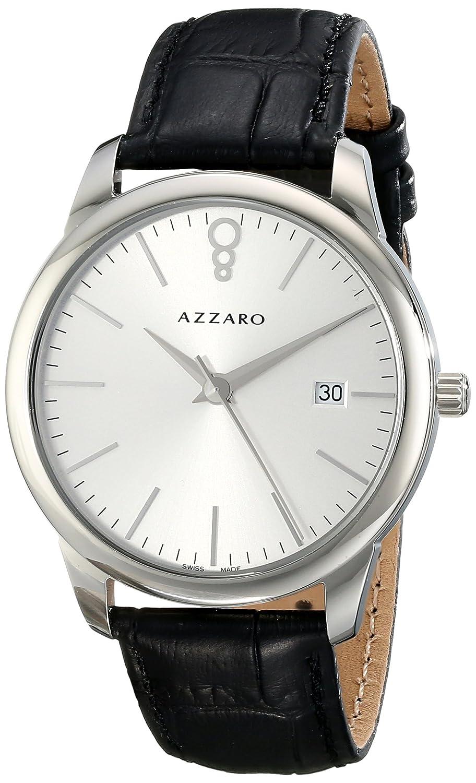 AZZARO LEGEND HERREN 40MM SCHWARZ LEDER ARMBAND MINERAL GLAS UHR AZ2040.12SB.000