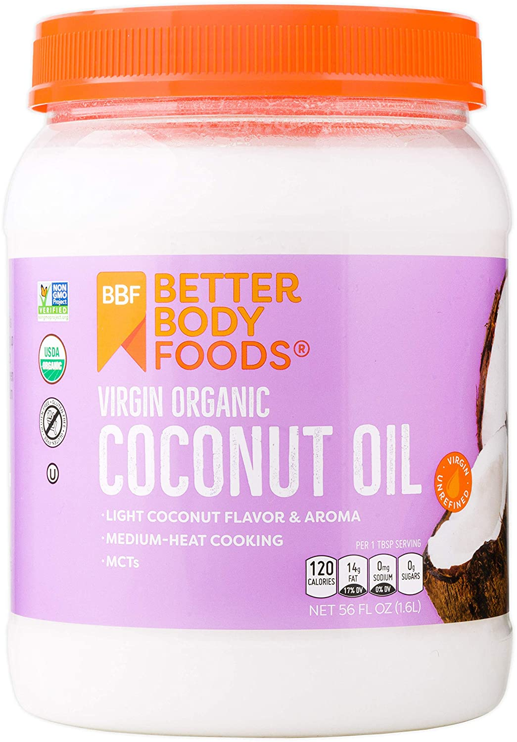 BetterBody Foods Organic Virgin Coconut Oil — Cold-Pressed and Unrefined Coconut Oil, Medium Temperature Cooking Oil, Great Alternative To Butter, Light Coconut Flavor and Aroma, 56 Ounce