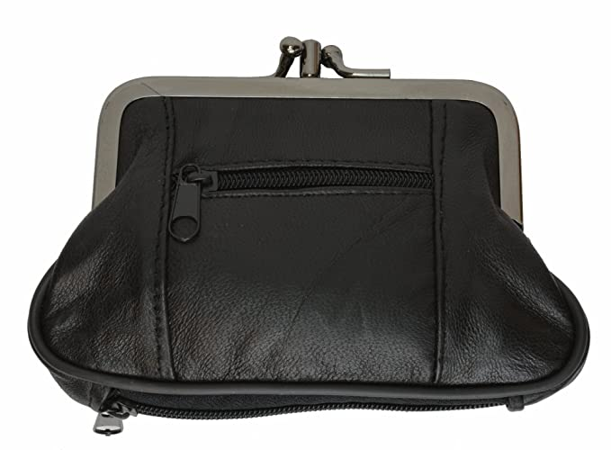 5e67b5ac7f6 Amazon.com  Marshal Wallet Large Coin Purse Double Frame With Zipper ...
