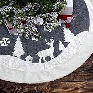 7Felicity Christmas Tree Skirt, Fur Rustic White Xmas Tree Skirt,Snowy Christmas Trees Mat Decorations Indoors,Deer and Snowflake Pattern (48 inches, White Deer)