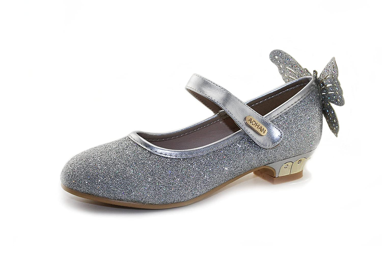 Girls Sparkle Party Mary Jane Flat Ballerina Butterfly Princess Shoes