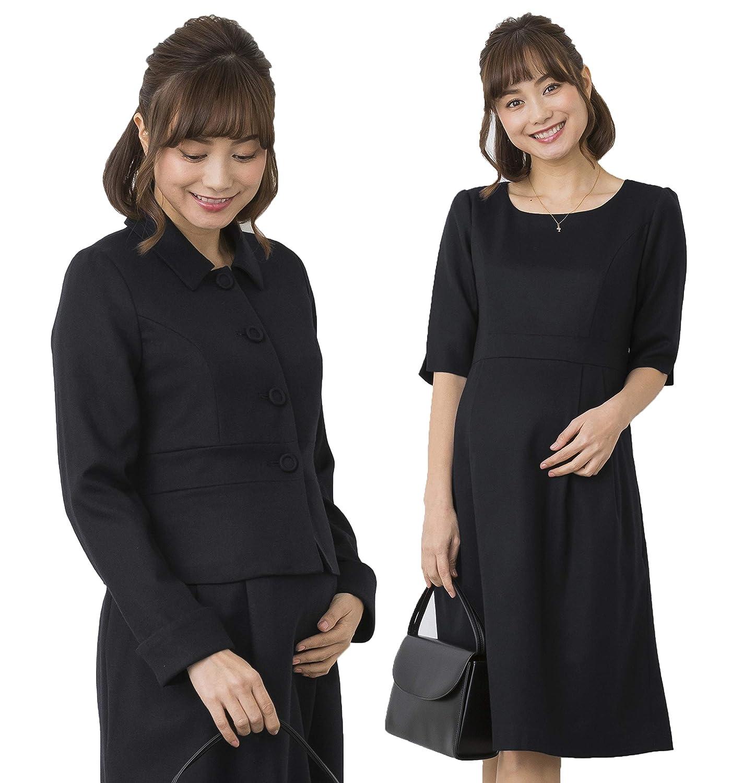Sweet Mommy 日本製 マタニティ フォーマルスーツ 授乳服 ワンピース ジャケット 2点セット 最高級メリノウール ウール98% セットアップ 総裏地仕立て 内ポケット付き ブラックセット M M ブラック B07QS75F31