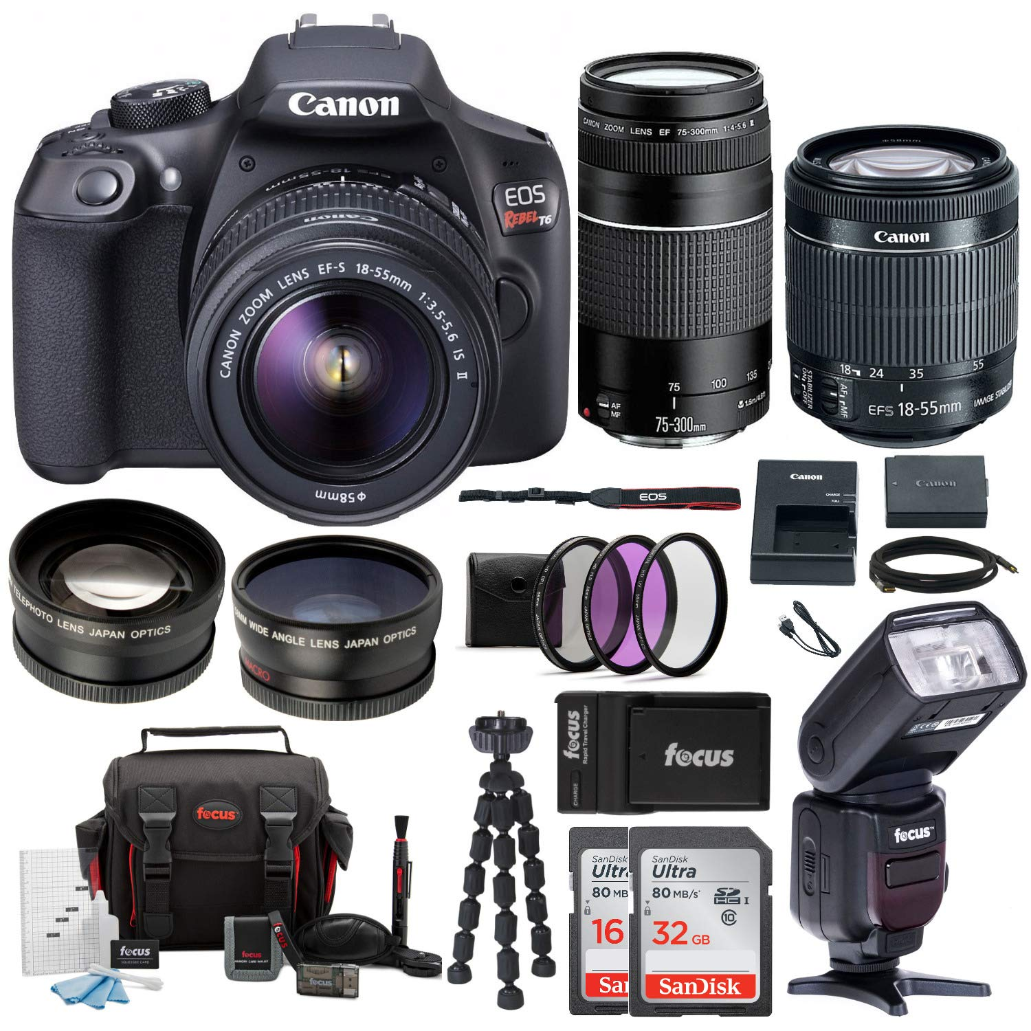 Canon EOS Rebel T6 Digital Camera :18 Megapixel 1080p HD Video DSLR Bundle  with 18-55mm &75-300mm Lenses Wide Angle & Telephoto Lens 32GB &16GB SD