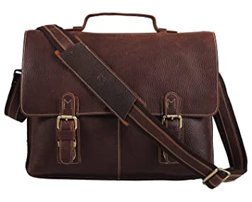 Amazon.com: Polare Men's Genuine Leather Professional Messenger ...