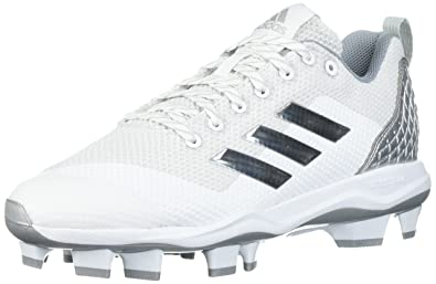 adidas Performance Men's PowerAlley 5 TPU Baseball Shoe, Ftwr White, Silver  Met, Light