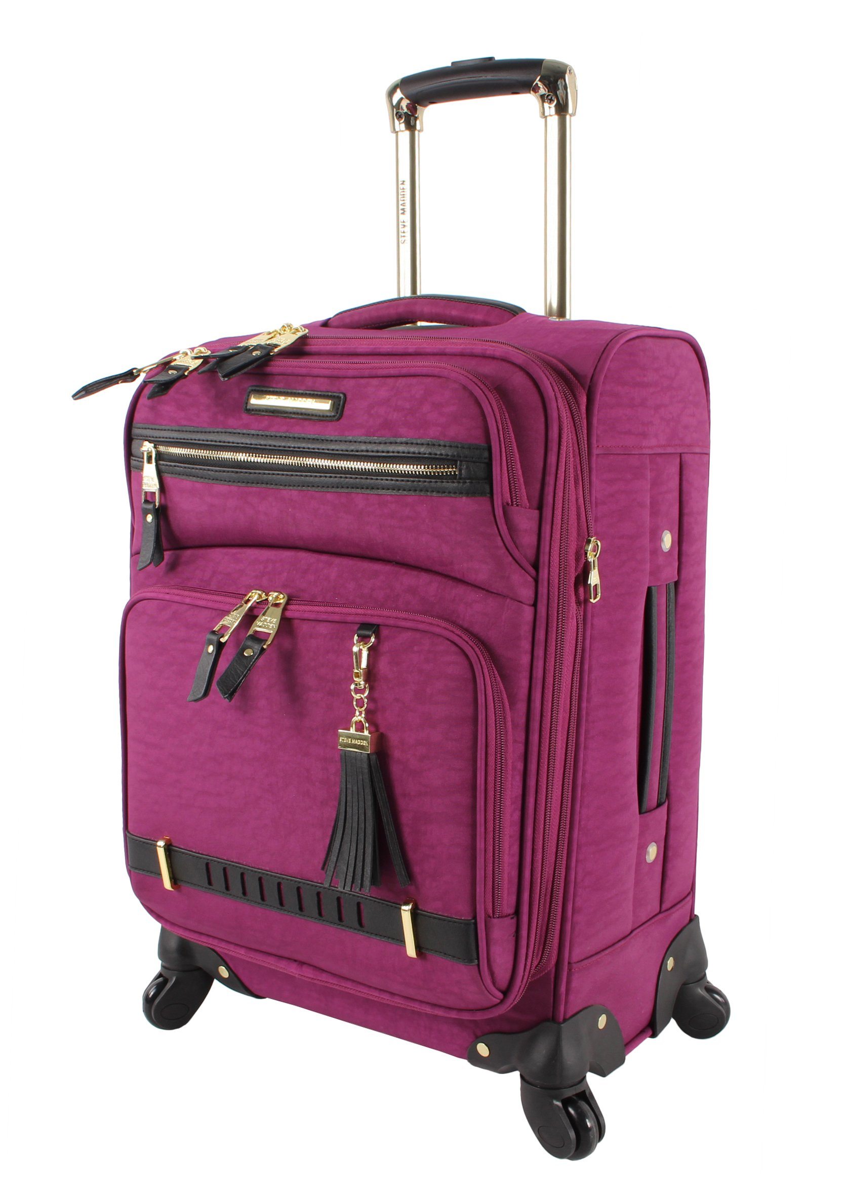 Steve Madden Luggage Large 28'' Expandable Softside Suitcase With Spinner Wheels (28in, Peek-A-Boo Purple)