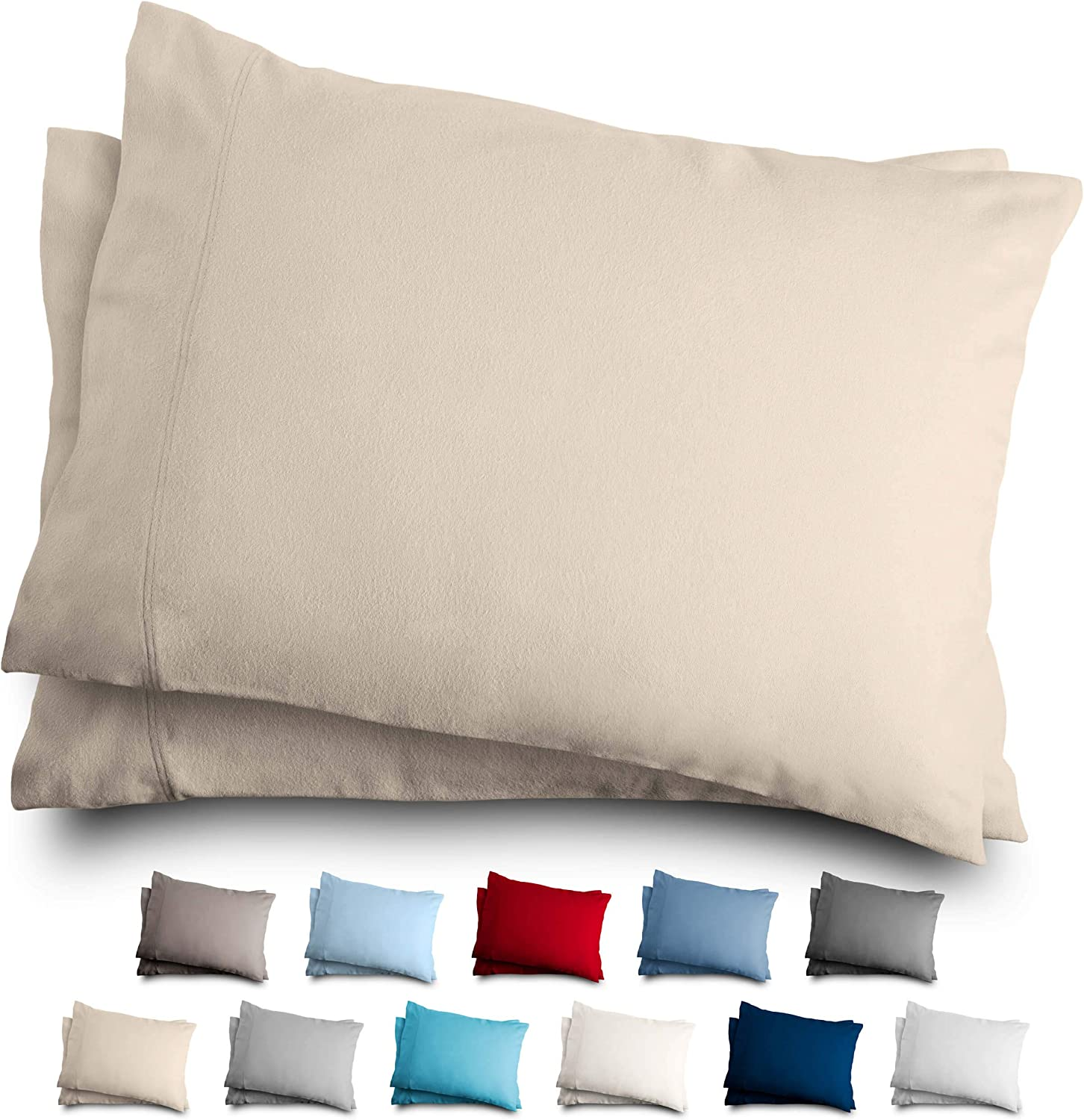 Bare Home King Flannel Pillowcase Set - 100% Cotton - Velvety Soft Heavyweight - Double Brushed Flannel (King Pillowcase Set of 2, Sand)