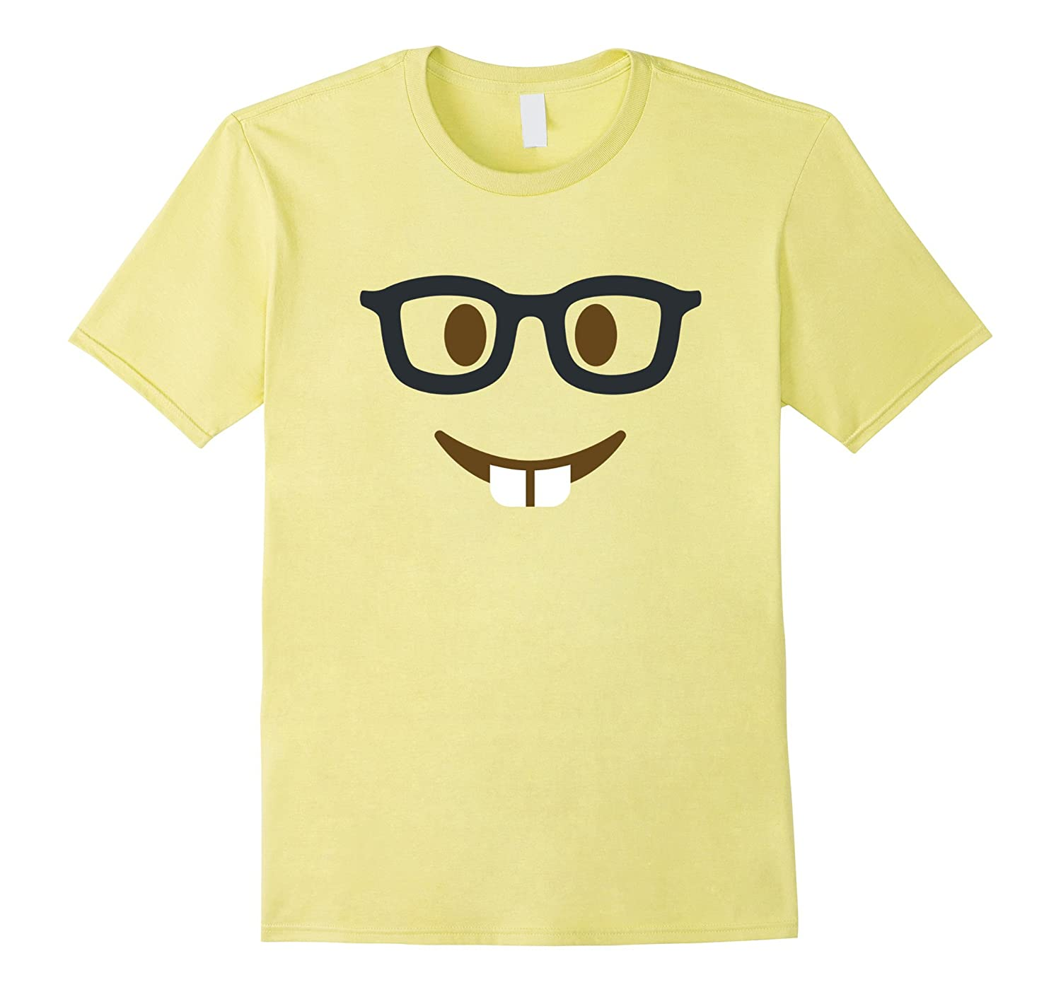 Nerd geek face emoji group tshirt, funny couples costume-T-Shirt