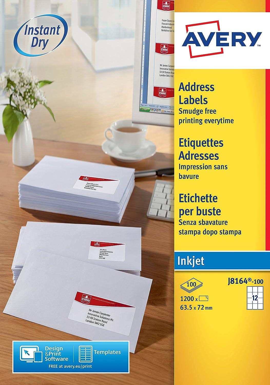 Avery Self Adhesive Address Mailing Labels, Inkjet Printers