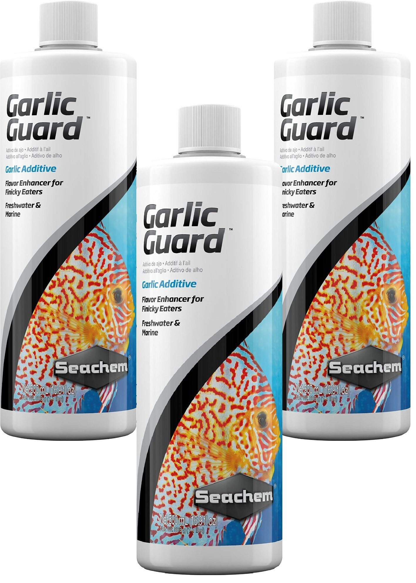 Seachem Garlic Guard Additive Flavor Enhancer for Finicky Eaters Freshwater and Marine, 17 ounce (3 Pack) by Seachem