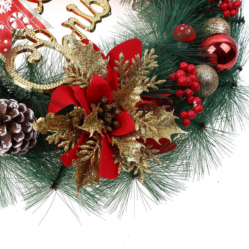 Promisen Christmas Wreath,30CM Merry Christmas Decorated Pine Wreath with Color Balls,Pine Cones, Artificial Garland Holiday Wreath for Christmas Party Decor, Front Door Wreath (Red) by Promisen (Image #3)