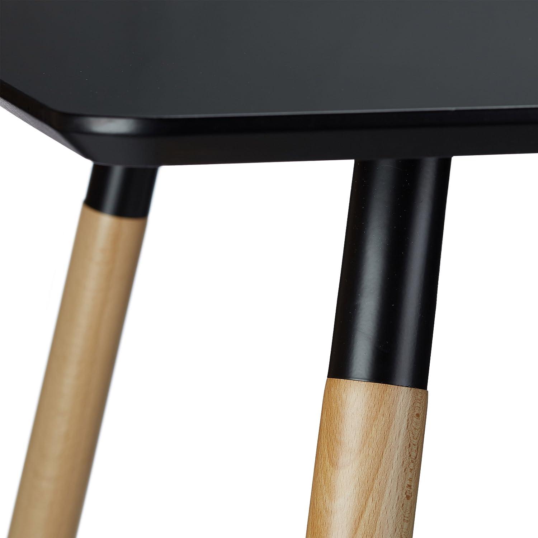 Relaxdays Table /à manger ARVID rectangle table de salon table appoint en bois HxlxP 75 x 120 x 80 cm design scandinave nordique noir