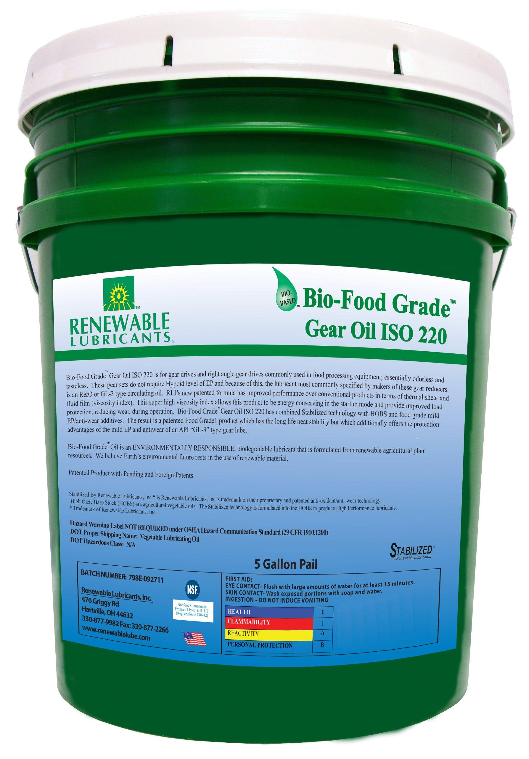 Renewable Lubricants Bio-Food Grade ISO 220 Gear Oil, 5 Gallon Pail by Renewable Lubricants
