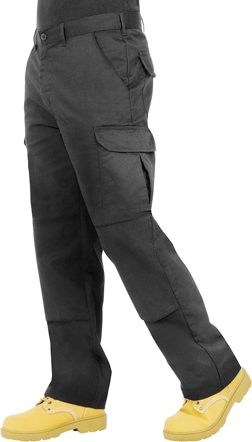 Endurance Mens Cargo Combat Work Trouser with Knee Pad Pockets and Reinforced Seams Grey//Black /& Black//Grey Navy Available in Black