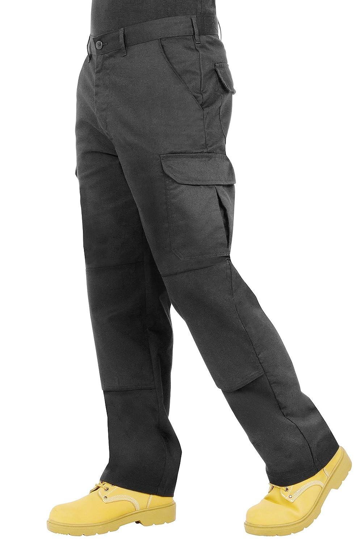 Proluxe Endurance da Uomo Cargo Combat Pantaloni da Lavoro con Tasche al Ginocchio e Cuciture rinforzate –  Disponibile in Nero, Blu Navy e Grigio