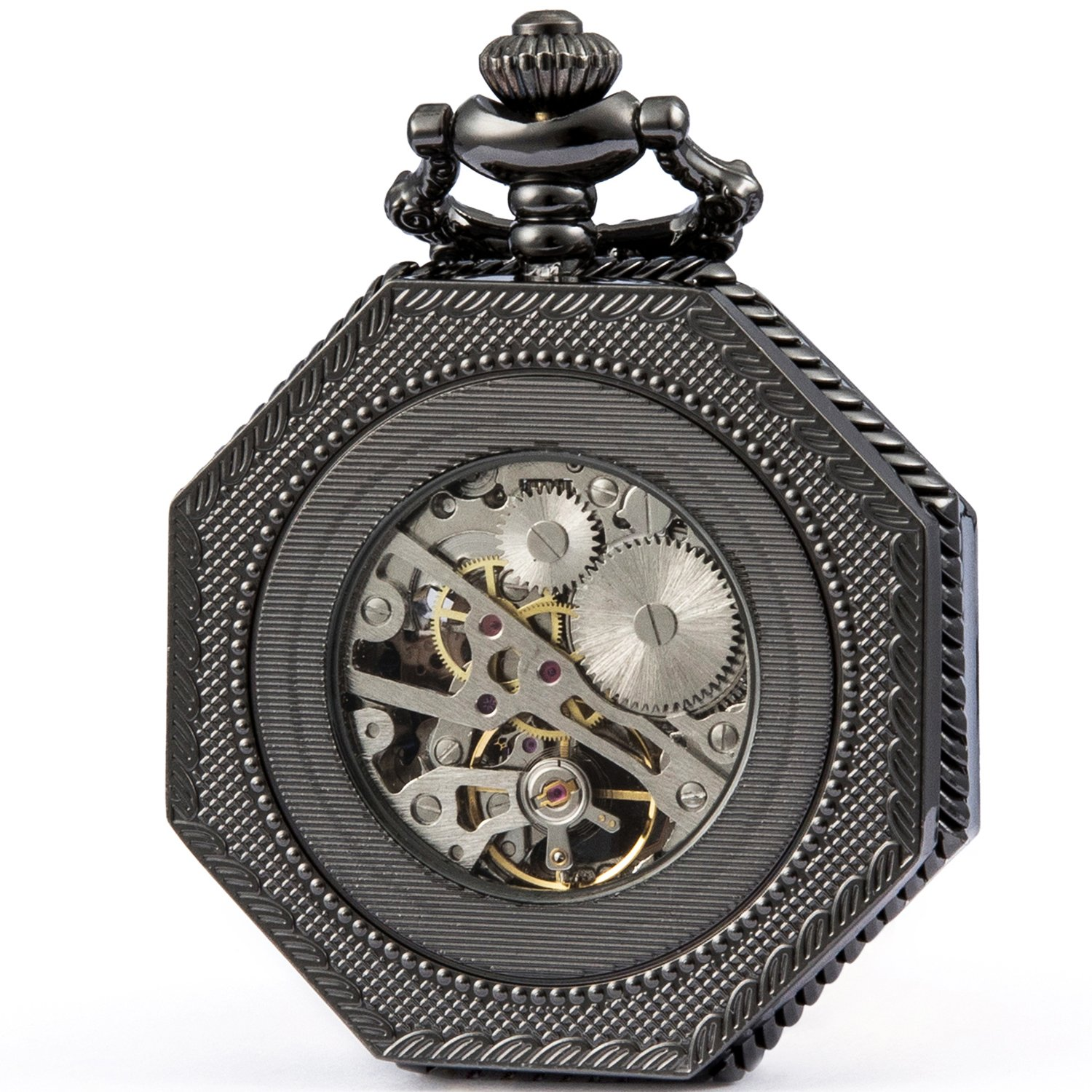 SEWOR Octagon Old School Style Hollow Roman Numerals Mechanical Hand Wind Pocket Watch (Black)