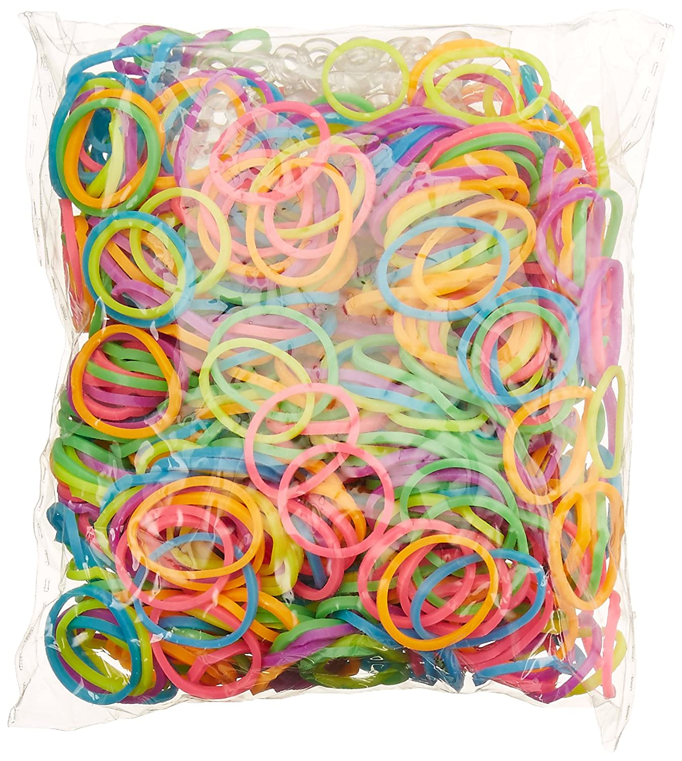 Blue Dot Trading 2400 piece neon rubber band pack 2400-Piece Neon Rubber Band Kids Craft with Rainbow Do It Yourself Bracelet Kit Refill Pack BlueDot Trading