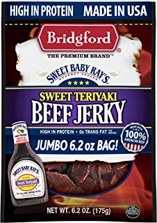 product image for Bridgford Sweet Baby Ray's Sweet Teriyaki Beef Jerky, High Protein, Zero Trans Fat, Made With 100% American Beef, 6.2 Oz, Pack of 3