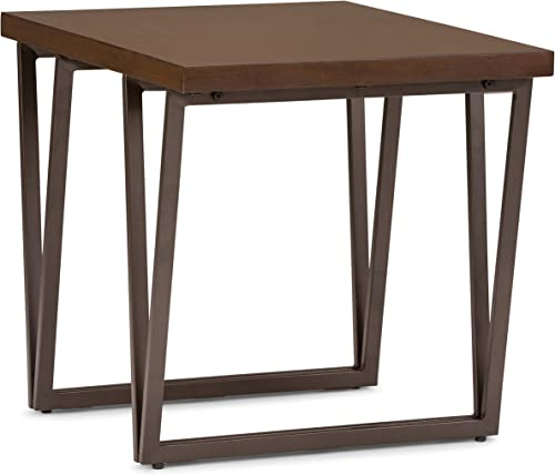 SIMPLIHOME Ryder SOLID WOOD and Metal 24 inch wide Rectangle Industrial End Side Table