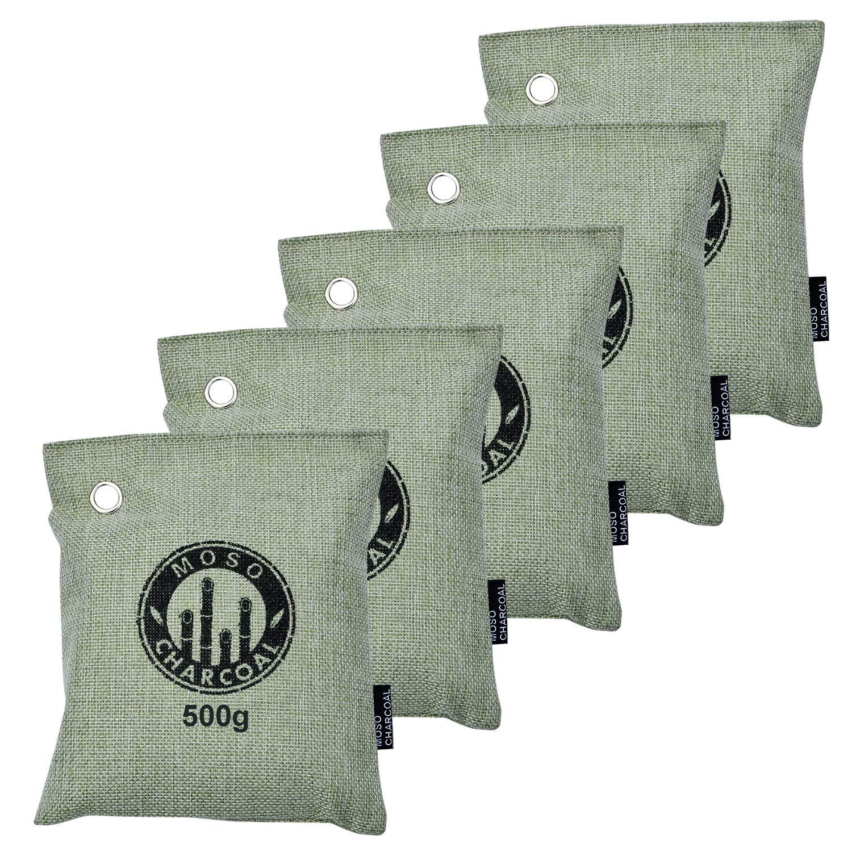 OuYi Air Purifying Bag 5x 500 Gram, Bamboo Charcoal Bag Odor Eliminator Cars, Closets, Bathrooms Pet Areas (5x 500 gram)