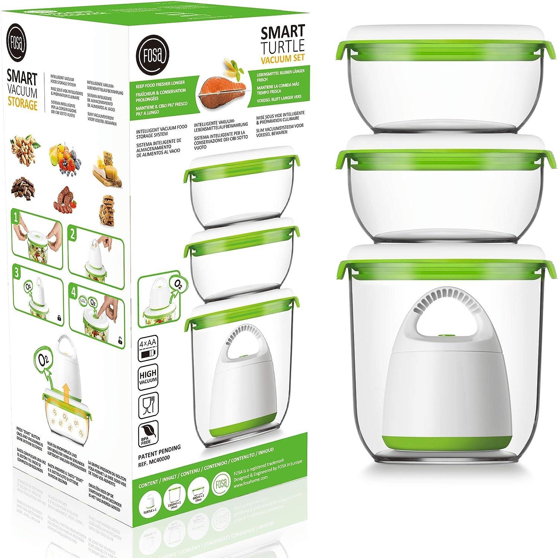 FOSA Home Starter Kit Madrid. Envasadora al vacío compacta + 3 recipientes redondos (1x1.350 ml, 2x600 ml) para conservar tus alimentos: Amazon.es