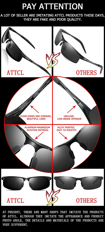 77069b0f9b ATTCL Mens Sports Fashion Driving Polarized Sunglasses for Men Al-Mg Metal  Frame Ultra Light