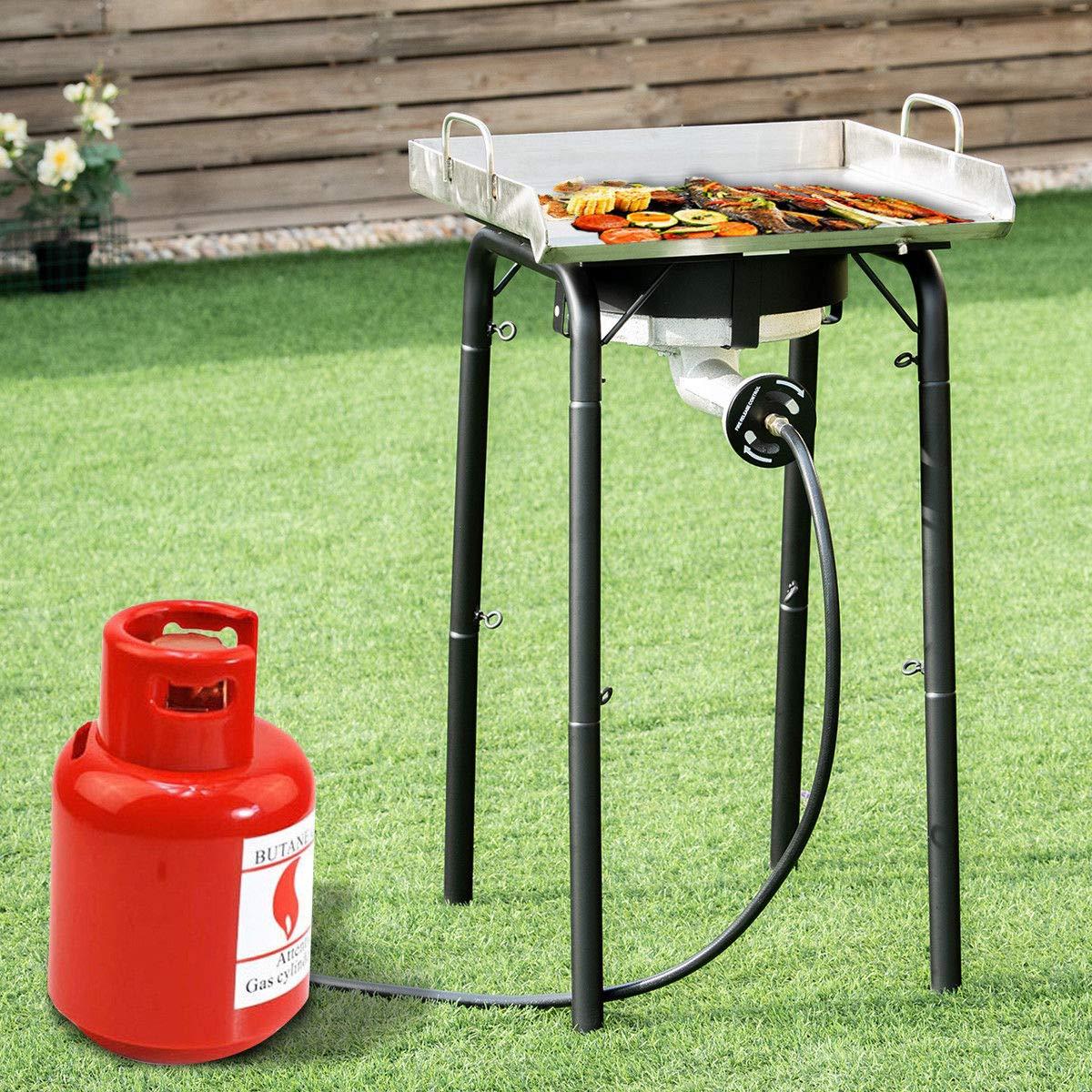 Giantex Portable Propane 200,000-BTU Single Burner Outdoor Stove Cooker Standing Camping Cooking Stove w CSA Listed High Pressure Regulator, Hose, Adjustable Legs
